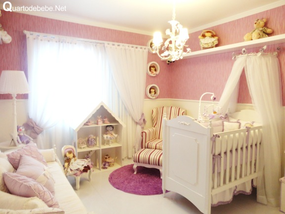 quarto beb rosa branco provenal