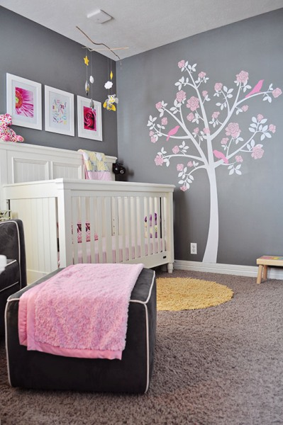 quarto de menina cinza rosa e amarelo. Black Bedroom Furniture Sets. Home Design Ideas